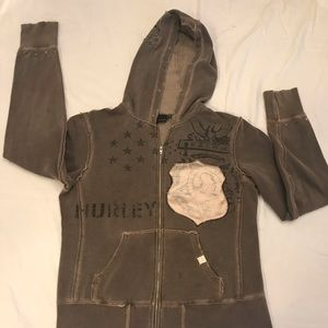 Hurley Vintage Distressed Hooded Sweatshirt
